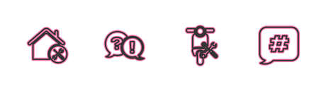 Set line House service, Scooter, Question and Exclamation and Hashtag speech bubble icon. Vector