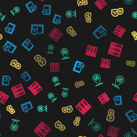 Set line Interesting facts, Location service, Question and Answer and Office folders on seamless pattern. Vector