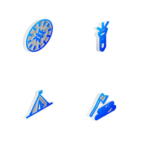 Set Isometric line Flashlight, Compass, Tourist tent with flag and Wooden axe and wood icon. Vector