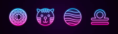 Set line Astrology horoscope circle, Tiger zodiac, Planet Jupiter and Libra. Glowing neon icon. Vector Illustration
