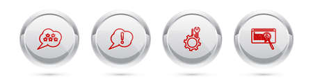 Set line Five stars rating review, Speech bubble Exclamation, Wrench and screwdriver gear and System bug concept. Silver circle button. Vector
