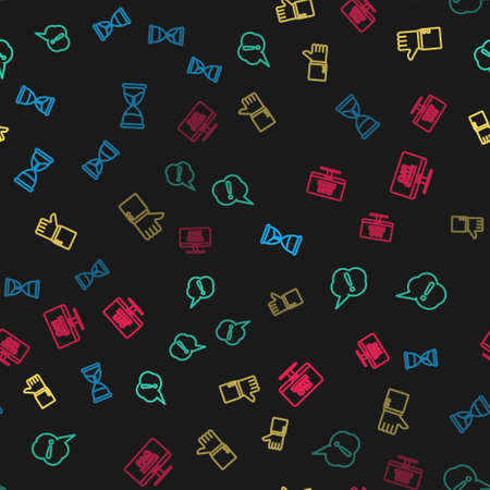 Set line Hourglass, Speech bubble Exclamation, Hand thumb up and Monitor with FAQ information on seamless pattern. Vector