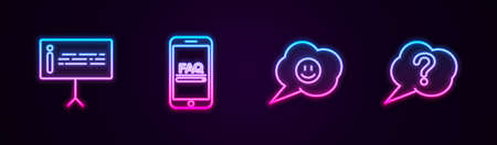 Set line Information, Mobile with FAQ information, Speech bubble smile face and Question. Glowing neon icon. Vector