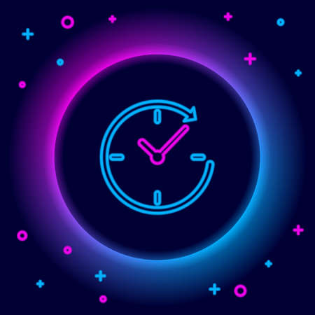 Glowing neon line Clock with arrow icon isolated on black background. Time symbol. Clockwise rotation icon arrow and time. Colorful outline concept. Vector