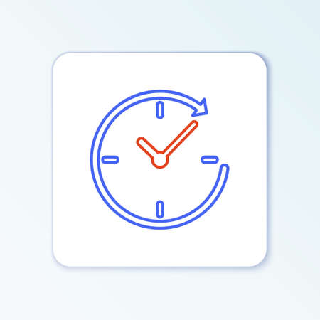 Line Clock with arrow icon isolated on white background. Time symbol. Clockwise rotation icon arrow and time. Colorful outline concept. Vector