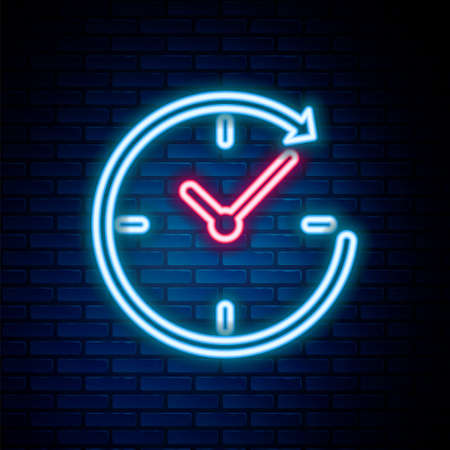 Glowing neon line Clock with arrow icon isolated on brick wall background. Time symbol. Clockwise rotation icon arrow and time. Colorful outline concept. Vector Çizim