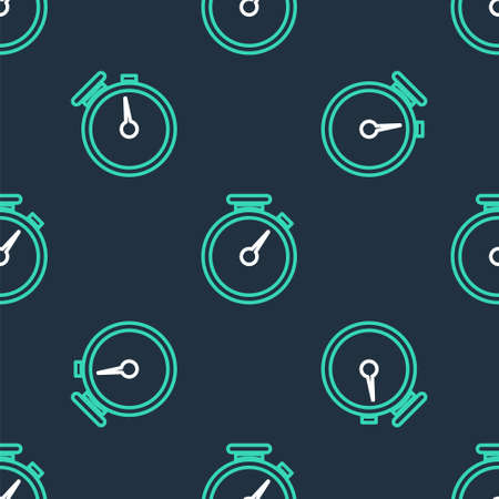 Line Stopwatch icon isolated seamless pattern on black background. Time timer sign. Vector