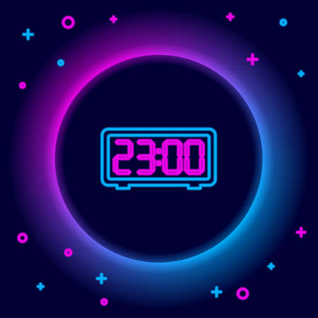 Glowing neon line Digital alarm clock icon isolated on black background. Electronic watch alarm clock. Time icon. Colorful outline concept. Vector