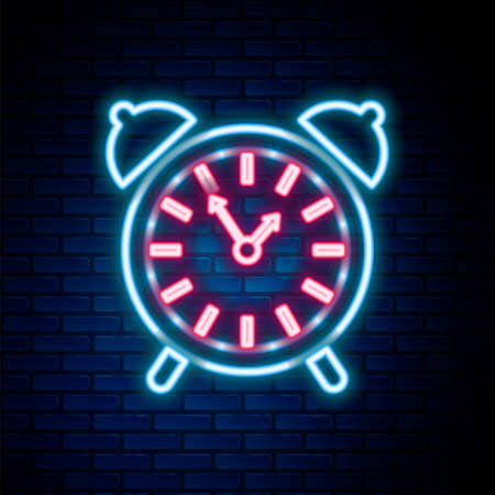Glowing neon line Alarm clock icon isolated on brick wall background. Wake up, get up concept. Time sign. Colorful outline concept. Vector. Çizim