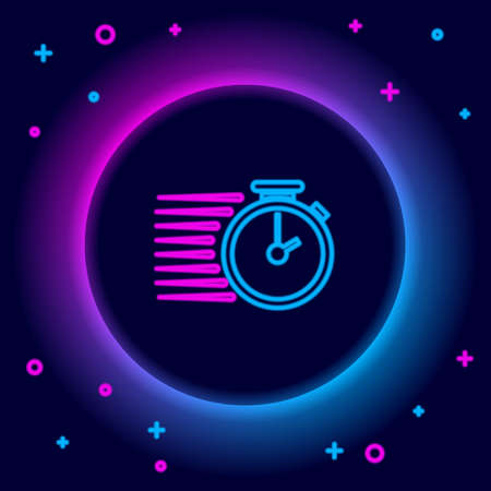 Glowing neon line Stopwatch icon isolated on black background. Time timer sign. Colorful outline concept. Vector