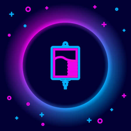 Glowing neon line IV bag icon isolated on black background. Blood bag icon. Donate blood concept. The concept of treatment and therapy, chemotherapy. Colorful outline concept. Vector Иллюстрация