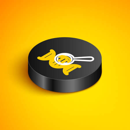 Isometric line DNA research, search icon isolated on yellow background. Magnifying glass and dna chain. Genetic engineering, cloning, paternity testing. Black circle button. Vector