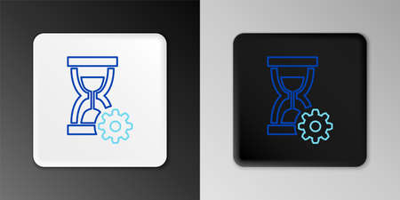 Line Hourglass and gear icon isolated on grey background. Time Management symbol. Clock and gear icon. Productivity symbol. Colorful outline concept. Vector Çizim