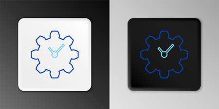 Line Time Management icon isolated on grey background. Clock and gear sign. Productivity symbol. Colorful outline concept. Vector