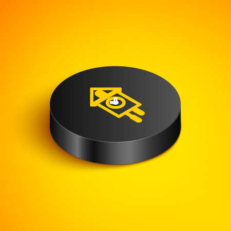 Isometric line Retro wall watch icon isolated on yellow background. Cuckoo clock sign. Antique pendulum clock. Black circle button. Vector Çizim