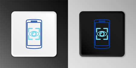 Line Mobile phone and eye scan icon isolated on grey background. Scanning eye. Security check symbol. Cyber eye sign. Colorful outline concept. Vector Çizim