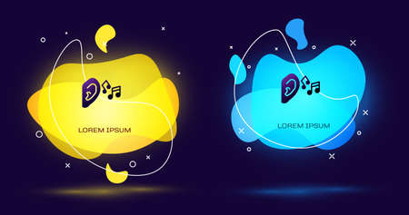 Black Ear listen sound signal icon isolated on black background. Ear hearing. Abstract banner with liquid shapes. Vector