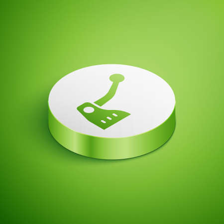 Isometric Bicycle brake icon isolated on green background. White circle button. Vector