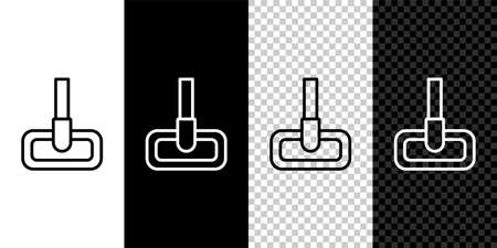Set line Mop icon isolated on black and white background. Cleaning service concept. Vector Illustration