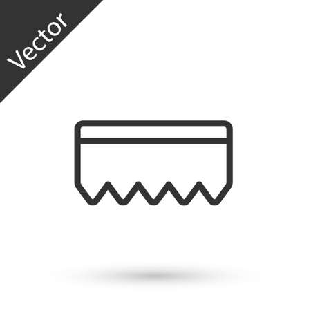 Grey line Sponge with bubbles icon isolated on white background. Wisp of bast for washing dishes. Cleaning service logo. Vector Illustration