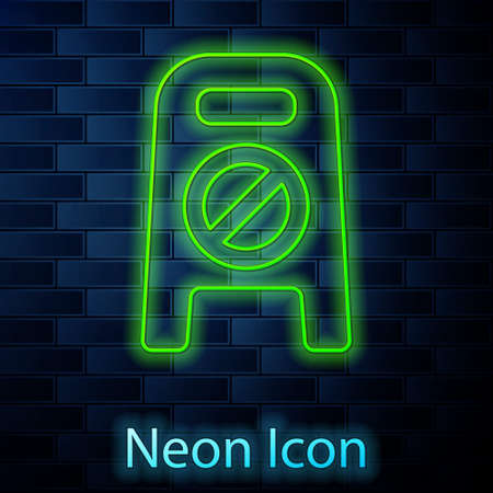Glowing neon line Wet floor and cleaning in progress icon isolated on brick wall background. Cleaning service concept. Vector Illustration