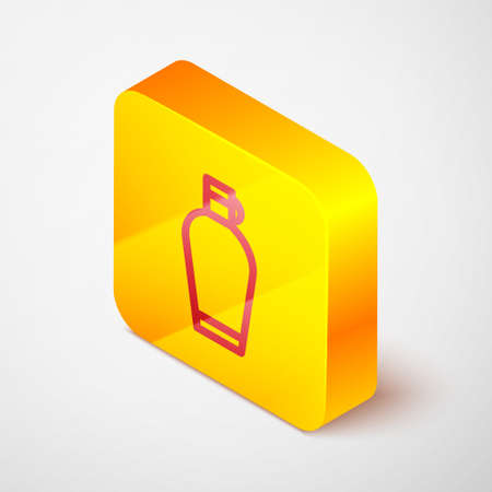 Isometric line Canteen water bottle icon isolated on grey background. Tourist flask icon. Jar of water use in the campaign. Yellow square button. Vector