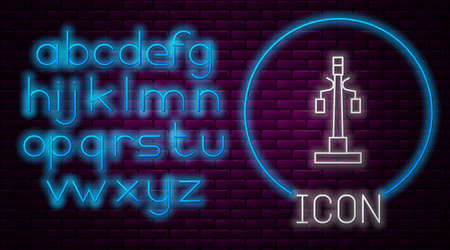 Glowing neon line Street light system icon isolated on brick wall background. Neon light alphabet. Vector