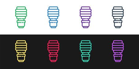 Set line LED light bulb icon isolated on black and white background. Economical LED illuminated lightbulb. Save energy lamp. Vector