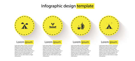 Set Tourist tent with flag, Rafting boat, tumbler container and . Business infographic template. Vector 向量圖像