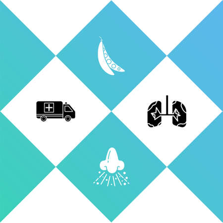 Set Emergency car, Runny nose, Kidney beans and Lungs icon. Vector