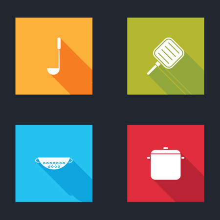 Set Kitchen ladle, Frying pan, colander and Cooking pot icon. Vector