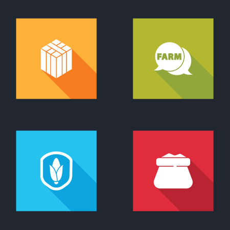 Set Bale of hay, Speech bubble with Farm, Shield corn and Full sack icon. Vector