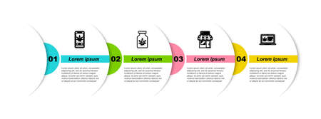 Set line Online buying marijuana, Medical bottle with, Marijuana and cannabis store and . Business infographic template. Vector