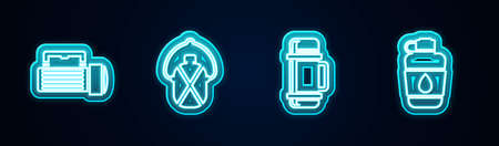 Set line Flashlight, Canteen water bottle, flask container and . Glowing neon icon. Vector
