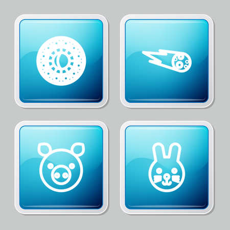 Set line Astrology horoscope circle, Comet falling down fast, Pig zodiac and Rabbit icon. Vector