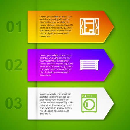 Set line Window with curtains, Chest of drawers, Washer and Bed. Business infographic template. Vector Vetores