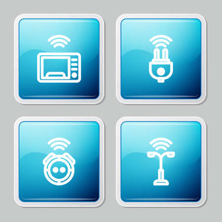 Set line Smart microwave oven, electric plug, Robot vacuum cleaner and street light icon. Vector