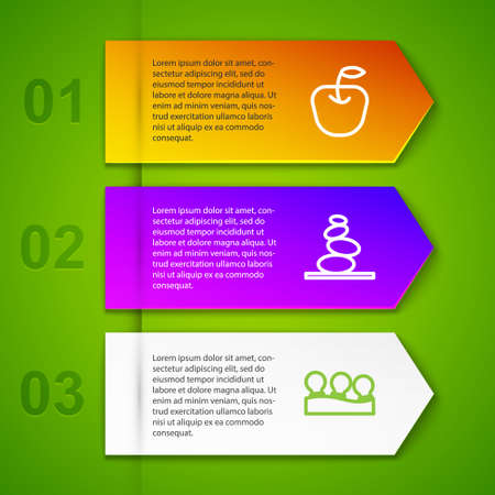 Set line Apple, Stack hot stones, Vacuum cans and Carrot. Business infographic template. Vector