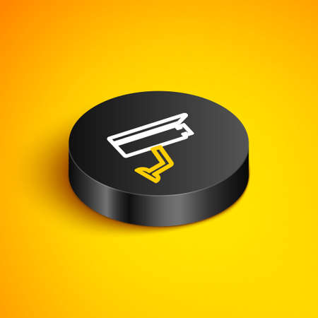 Isometric line Security camera icon isolated on yellow background. Black circle button. Vector