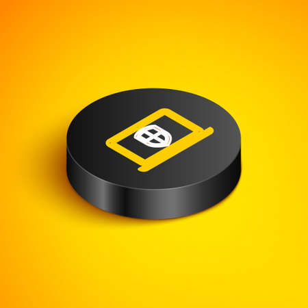 Isometric line Server with shield icon isolated on yellow background. Protection against attacks. Network firewall, router, switch or server. Black circle button. Vector Vettoriali