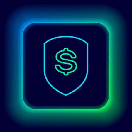 Glowing neon line Shield and dollar icon isolated on black background. Security shield protection. Money security concept. Colorful outline concept. Vector