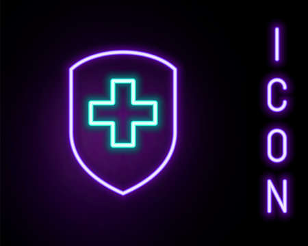Glowing neon line Medical shield with cross icon isolated on black background. Protection, safety, password security. Colorful outline concept. Vector