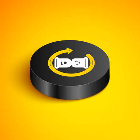 Isometric line Waiting icon isolated on yellow background. Wait time icon. Hourglass clock. Black circle button. Vector