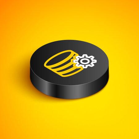 Isometric line Setting database server icon isolated on yellow background. Database Center. Black circle button. Vector
