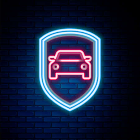 Glowing neon line Car protection or insurance icon isolated on brick wall background. Protect car guard shield. Safety badge vehicle icon. Security auto label. Colorful outline concept. Vector Vettoriali