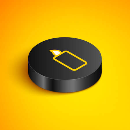Isometric line Burning candle icon isolated on yellow background. Old fashioned lit candle. Cylindrical aromatic candle stick with burning flame. Black circle button. Vector Ilustrace