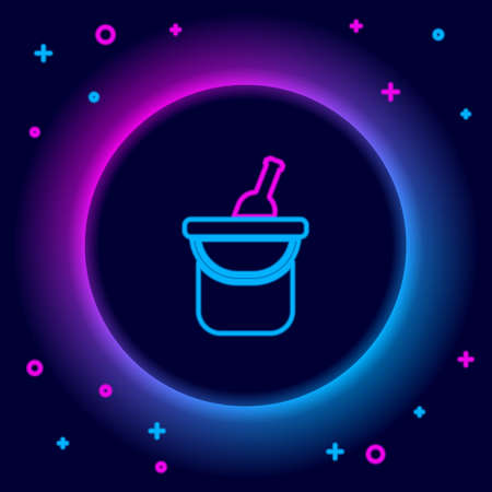 Glowing neon line Bottle of wine in an ice bucket icon isolated on black background. Colorful outline concept. Vector