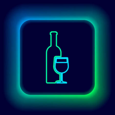 Glowing neon line Wine bottle with wine glass icon isolated on black background. Colorful outline concept. Vector
