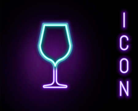 Glowing neon line Wine glass icon isolated on black background. Wineglass sign. Colorful outline concept. Vector