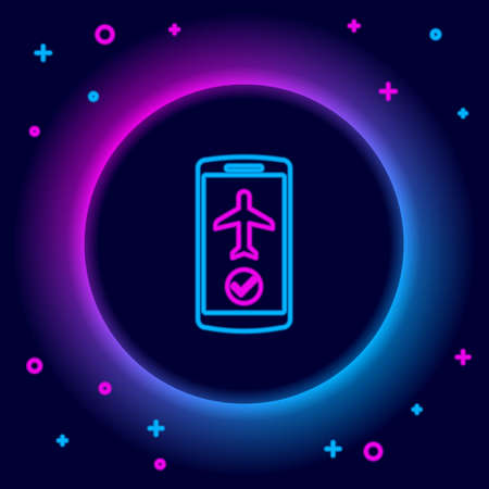 Glowing neon line Flight mode in the mobile phone icon isolated on black background. Airplane or aeroplane flight offline mode passenger regulation airline . Colorful outline concept. Vector
